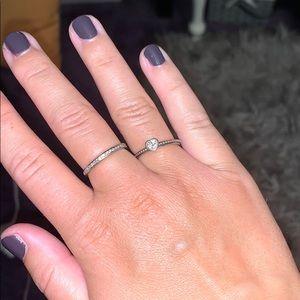 Size 6 Pandora princess heart sterling silver ring